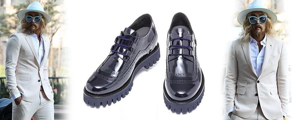 Blue lace-ups blucher men shoes - Guidomaggi Switzerland