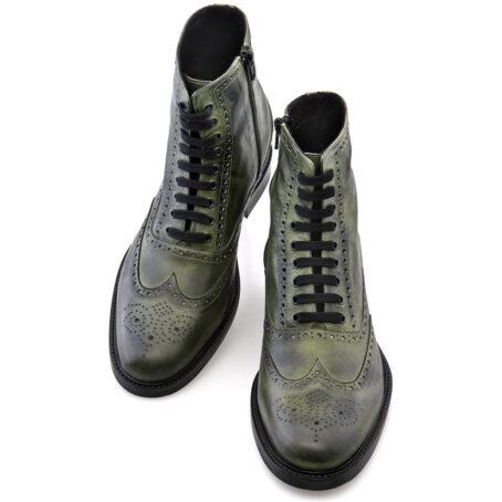 Bottes en cuir pleine fleur vert, aspect patiné 2