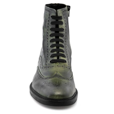 stivali in pelle verde con tacco rialzato