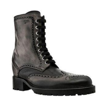 stivali pelle nera con tacco rialzato