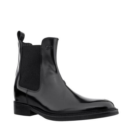 Schwarz glänzende Chelsea-Stiefel mit Absatz Herstellung ausschließlich in Italien 1