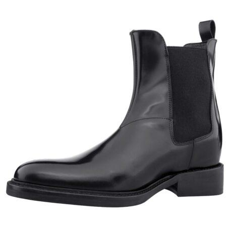 Schwarz glänzende Chelsea-Stiefel mit Absatz Herstellung ausschließlich in Italien 3
