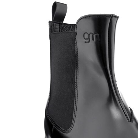 Schwarz glänzende Chelsea-Stiefel mit Absatz Herstellung ausschließlich in Italien 5