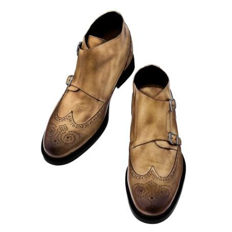 Stiefeletten  aus braunem Leder mit Vintage-Effekten Erhöhte Schuhe 2
