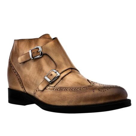 Stiefeletten  aus braunem Leder mit Vintage-Effekten Erhöhte Schuhe 1
