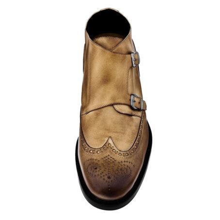 Stiefeletten  aus braunem Leder mit Vintage-Effekten Erhöhte Schuhe 3