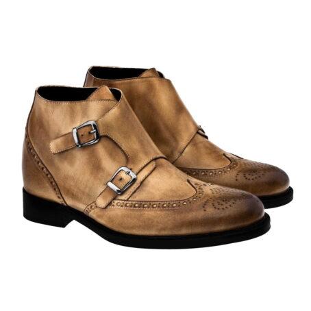 Stiefeletten  aus braunem Leder mit Vintage-Effekten Erhöhte Schuhe 4