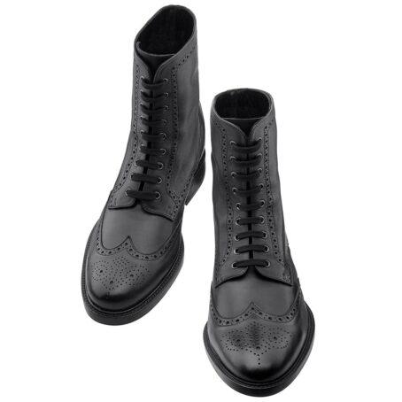 Schwarze Leder Brogue-Stiefel aus echtem Kalbsleder 2