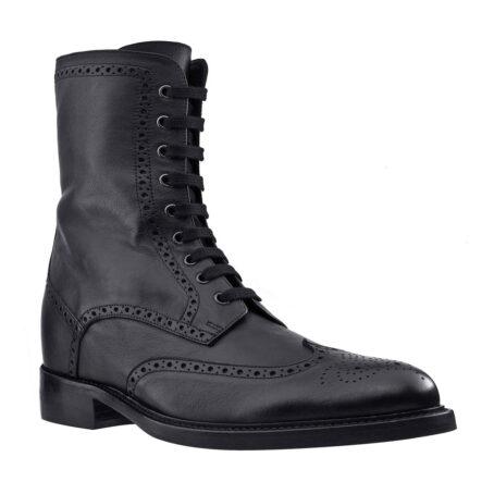Schwarze Leder Brogue-Stiefel aus echtem Kalbsleder 1