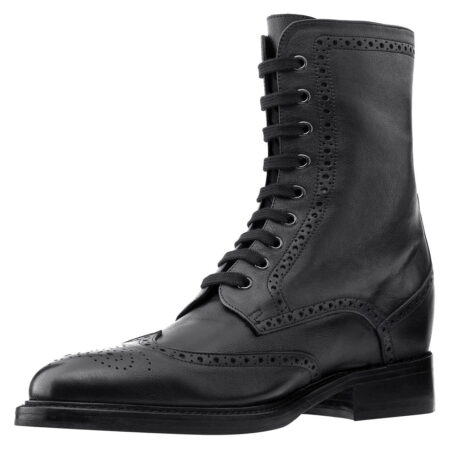 Schwarze Leder Brogue-Stiefel aus echtem Kalbsleder 3