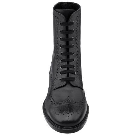 Schwarze Leder Brogue-Stiefel aus echtem Kalbsleder 4