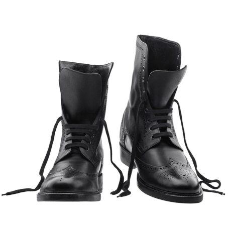 Schwarze Leder Brogue-Stiefel aus echtem Kalbsleder 5