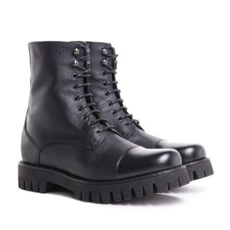 schwarze Lederstiefel mit Absatz und Vollnarbiges Leder GuidomaggiSchweiz 2