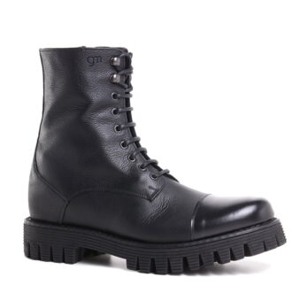 black leather combact boots 4