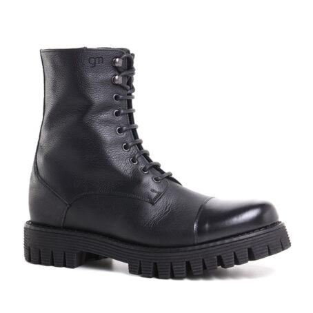 schwarze Lederstiefel mit Absatz und Vollnarbiges Leder GuidomaggiSchweiz 1