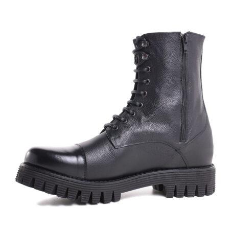 schwarze Lederstiefel mit Absatz und Vollnarbiges Leder GuidomaggiSchweiz 3