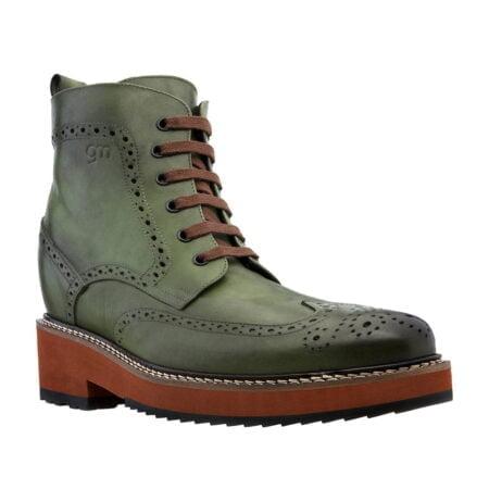 Grüne Brogue-Stiefel aus echtem Kalbsleder Handgefertigte aus Italien 1