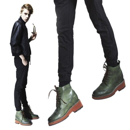 short man wearing green brogue boots