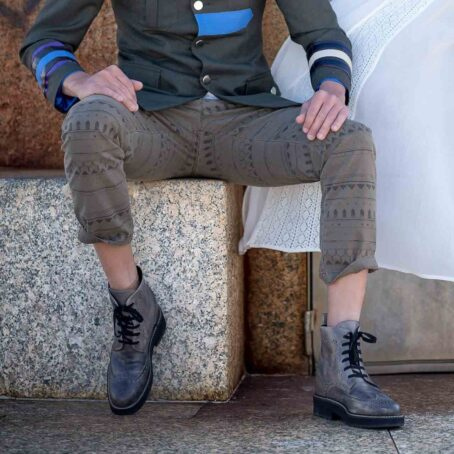 grey combact boots