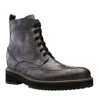 grey burnished combact boots 5