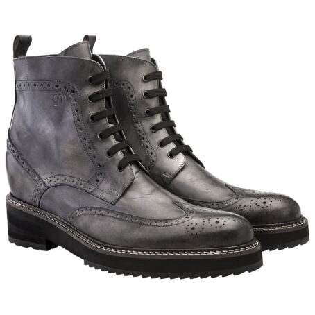 grey burnished combact boots