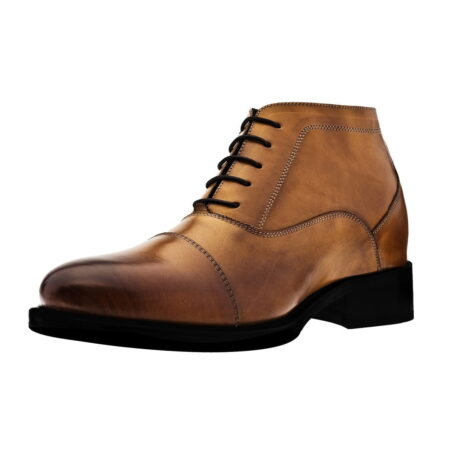 cognac patina leather ankle boots 3