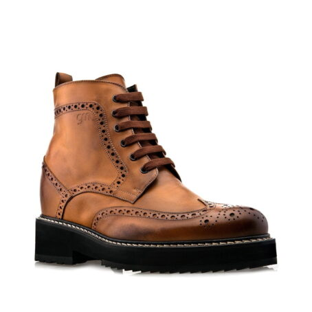 Brogue Stiefelette in Cognacfarbe