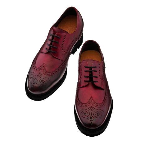 Chaussures de ville brogue en cuir pleine fleur poli bordeaux 2