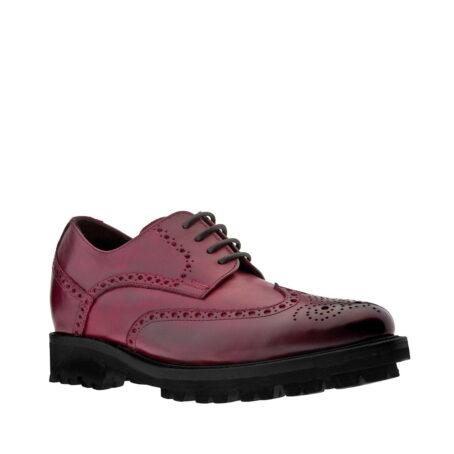 Chaussures de ville brogue en cuir pleine fleur poli bordeaux 1
