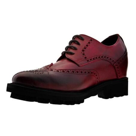 Chaussures de ville brogue en cuir pleine fleur poli bordeaux 3