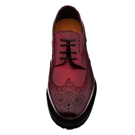 Chaussures de ville brogue en cuir pleine fleur poli bordeaux 4