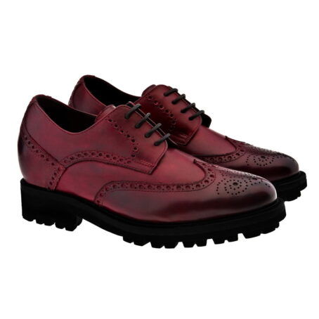 Chaussures de ville brogue en cuir pleine fleur poli bordeaux 5