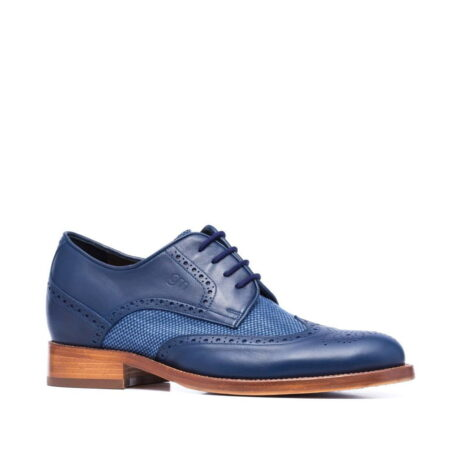 scarpe derby uomo in pelle blu e cotone