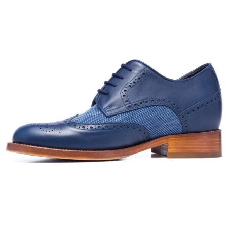 scarpa elegante uomo in vera pelle blu e cotone lavorato