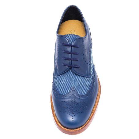 eleganti derby uomo in vera pelle blu e decorazione brogue