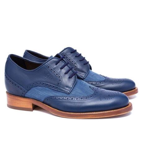 scarpe cerimonia uomo derby in pelle blu e cotone