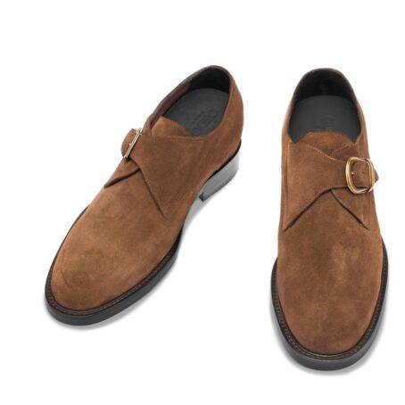 Chaussures de ville en cuir de veau velours marron foncé 2
