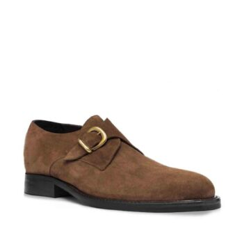 suede medium brown signle monk shoes 6