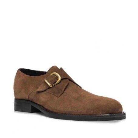 Chaussures de ville en cuir de veau velours marron foncé 1