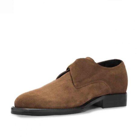 Chaussures de ville en cuir de veau velours marron foncé 3
