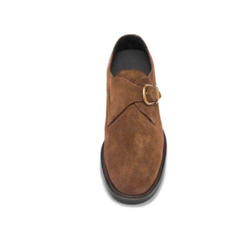 Chaussures de ville en cuir de veau velours marron foncé 4