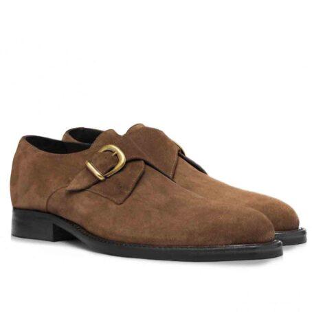 Chaussures de ville en cuir de veau velours marron foncé 5