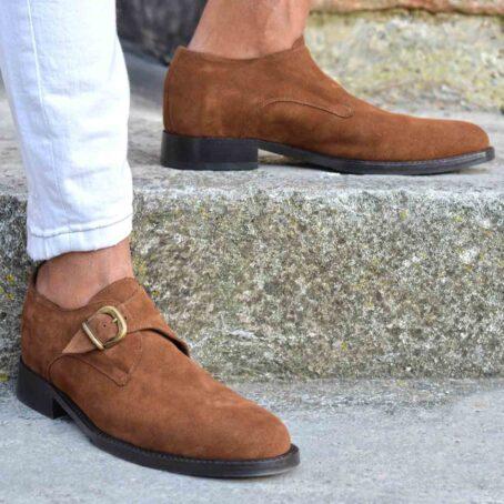 Chaussures de ville en cuir de veau velours marron foncé 6