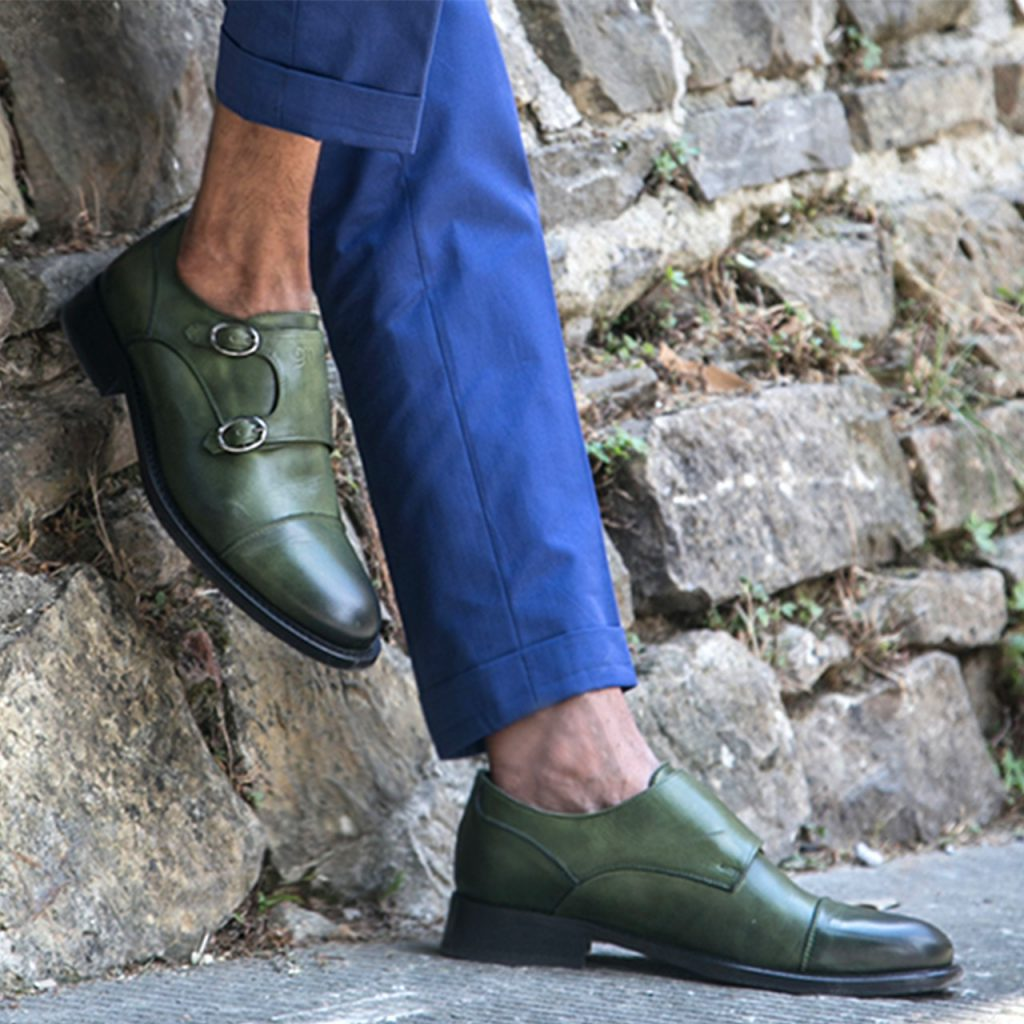 patina green monk dress shoes