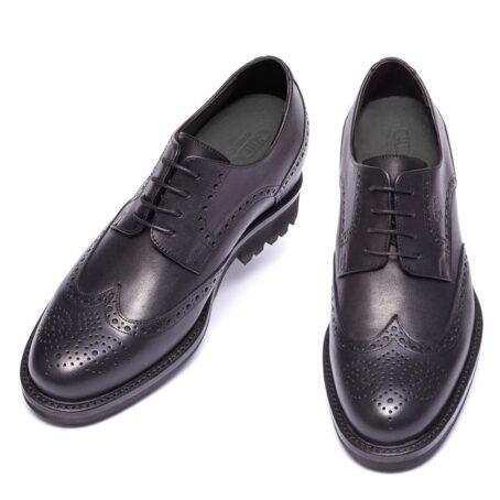 scarpe derby uomo nere in vera pelle pieno fiore
