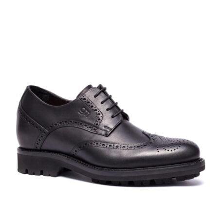 Chaussures de ville en cuir noir pleine fleur fin 1