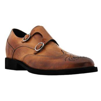 Cognac Mönchsleder bourgue Glänzende Schuhe mit Absatz 1