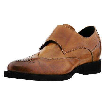 Cognac Mönchsleder bourgue Glänzende Schuhe mit Absatz 3
