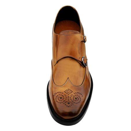 Cognac Mönchsleder bourgue Glänzende Schuhe mit Absatz 4