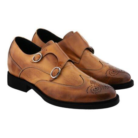 Cognac Mönchsleder bourgue Glänzende Schuhe mit Absatz 5